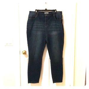 Straight leg dark wash stretch jeans, size 20W